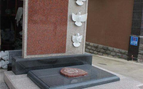 陵园暗红色墓碑款式
