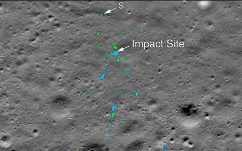 美国宇航局发布找到的印度维克拉姆月球着陆器坠机现场照片